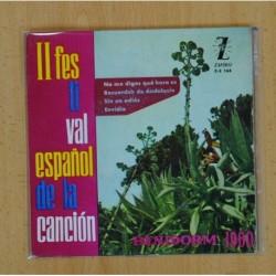 II FESTIVAL ESPAÑOL DE LA CANCION (BENIDORM 1960) - NO ME DIGAS QUE HORA ES + 3 - EP