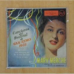 MARY MERCHE - FESTIVAL DE SAN REMO 1958 - LA YEDRA + 3 - EP