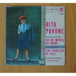 RITA PAVONE - QUE ME IMPORTA DEL MUNDO + 3 - EP