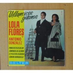 LOLA FLORES Y ANTONIO GONZALEZ - VILLANCICOS GITANOS - PANDERETA DE BELEN + 3 - EP